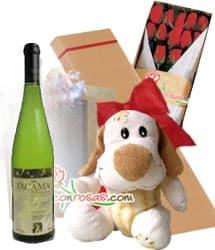 Vino Tacama con Caja de Rosas y peluche