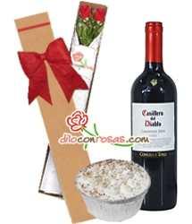 Tortas.com.pe - Caja de 2 rosas + vino y postre - Codigo:LIC10 - Detalles: Vino Tinto Casillero del Diablo de 750cc, Caja ecol�gica de 2 rosas importadas y delicioso postre 3 leches.   - - Para mayores informes llamenos al Telf: 225-5120 o 476-0753.
