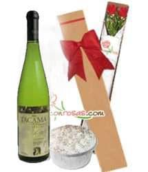 Caja de Rosas + Vino Tacama y �Postre