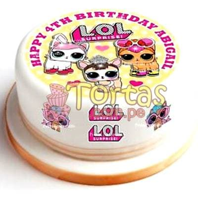 Tortas.com.pe - Foto Torta  LOL 01 - Codigo:LSP01 - Detalles: Exquisita torta de vainilla ba�ada con manjar y forrada con masa elastica. Primer piso de: 25cm de diametro, incluye fotoimpresion LOL segun imagen. - - Para mayores informes llamenos al Telf: 225-5120 o 476-0753.