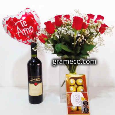 Vino Estancia Mendoza   Rosas Importadas   Ferrero Rocher   Globo Metalico   Regalos Delivery - Cod:LVN08