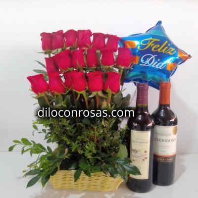 Arreglo de Rosas   Cava de Vinos   Globo Feliz dia   Regalos para Aniversarios - Cod:LVN10