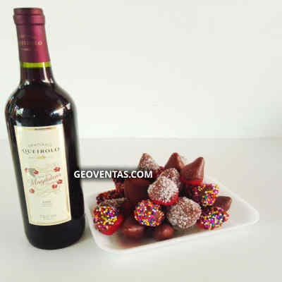 Vino Santiago Queirolo y Fresas con Chocolate - Cod:LVN11