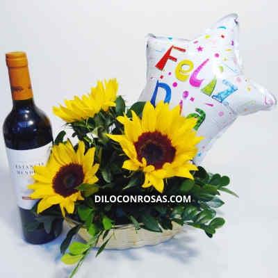 Vino con Girasoles   Arreglos Florales con Vinos   Delivery de vinos - Cod:LVN12