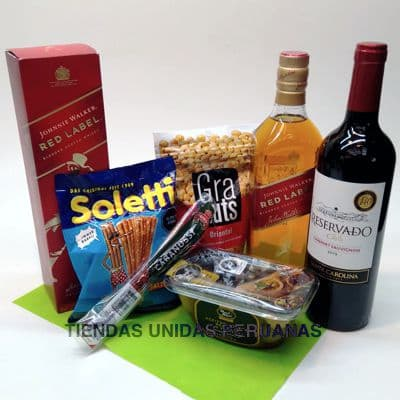 Canasta de Licores Red Label - Codigo:MCE04 - Detalles: Whisky JW Red Label, aceitunas el olivar, mani envasado x 250g, pack de cabanossi, pack de pretzel, Vino Tinto Frontera de viñedos Concha y Toro x 750ml - - Para mayores informes llamenos al Telf: 225-5120 o 4760-753.