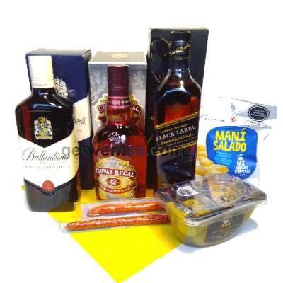 Canasta Mil Ocasiones - Codigo:MCE10 - Detalles: Ballentines whisky x 750ml, JW etiqueta negra x 750ml, Chivas x 750ml Aceitunas el olivar, pack de mani x 250g, 2 cabanossi. - - Para mayores informes llamenos al Telf: 225-5120 o 4760-753.