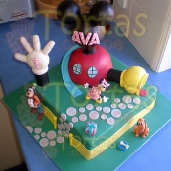 Diloconrosas.com - Torta Casa de mickey - Codigo:MCK02 - Detalles: Torta de 25cm x 25cm segun imagen y decorado de casa de mickey, el decorado de la casa y la mano no es comestible pero esta forrada en masa elastica. El keke es De Vainilla y relleno de manjar blanco. - - Para mayores informes llamenos al Telf: 225-5120 o 476-0753.