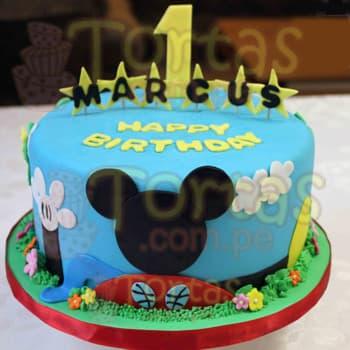 Diloconrosas.com - Torta Mickey 04 - Codigo:MCK04 - Detalles: Deliciosa Torta de 20cm de diametro, incluye todos los detalles comestibles que se ven en la imagen a base de masa elastica, el cliente debe indicar por escrito y confirmar por telefono el numero que va en el torta (este detalle es de cortesia y no influye en el costo final). Incluye tambien un nombre de hasta 7 letras. La torta es a base de keke De Vainilla, rellena de manjar blanco y todos los detalles son en azucar - - Para mayores informes llamenos al Telf: 225-5120 o 476-0753.