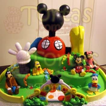 Diloconrosas.com - Casa de Mickey Gigante - Codigo:MCK05 - Detalles: Torta espectacular segun imagen a base de TRES tortas de 25cm de diametro en la base, y CUARTA torta de 25cm como segundo piso. Incluye todos los detalles a base de espuma forrada en masa elastica.  Incluye tambien la cerca de azucar y la entrada de azucar. Incluye cinco personajes hechos totalmente a base de azucar.  - - Para mayores informes llamenos al Telf: 225-5120 o 476-0753.