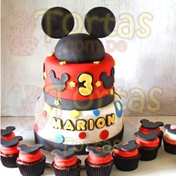 Diloconrosas.com - Torta Mickey 07 y muffins - Codigo:MCK07 - Detalles: Deliciosa torta a base de dos pisos, el primero de 20cm de diametro, el segundo de 15cm de diametro, en el tercer piso incluye un detalle no comestible de espuma forrado de masa elastica simulando la cabeza de mickey, incluye decoracion, el nombre del ni�o de hasta  7 letras el cual debe ser coordinado por escrito y confirmado por telefono.  Incluye 8 muffins de vainilla decorados con masa elastica segun imagen. - - Para mayores informes llamenos al Telf: 225-5120 o 476-0753.