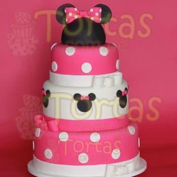 Diloconrosas.com - Torta Minnie 13 - Codigo:MCK13 - Detalles: Deliciosa torta de keke De Vainilla relleno de manjar blanco y forrado en masa elastica, el primer piso de 25cm de diametro, el segundo de 20cm de diametro y el tercero de 15cm de diametro. Incluye detalles en azucar y en el cuarto piso la cabeza de minnie en espuma no comestible y forrado en masa elastica. - - Para mayores informes llamenos al Telf: 225-5120 o 476-0753.