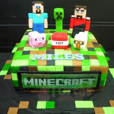 Torta MineCraft 01 - Codigo:MCT01 - Detalles: Espectacular torta a base de keke ingles, bañado con manjar blanco y forrado con masa elastica. La torta incluye muñecos segun imagen en azucar. El tamaño de la torta es de 20cm x 30cm - - Para mayores informes llamenos al Telf: 225-5120 o 4760-753.