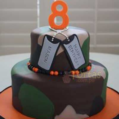 Lafrutita.com - Torta Militar 06 - Codigo:ENP06 - Detalles: Deliciosa torta de keke De Vainilla ba�ada con manjar y forrada con masa elastica de Medidas: Primer piso de 20 cm de diametro, segundo piso de 15 cmde diametro,decoracion seg�n imagen en masa elastica, base forrado en papel de aluminio. - - Para mayores informes llamenos al Telf: 225-5120 o 476-0753.