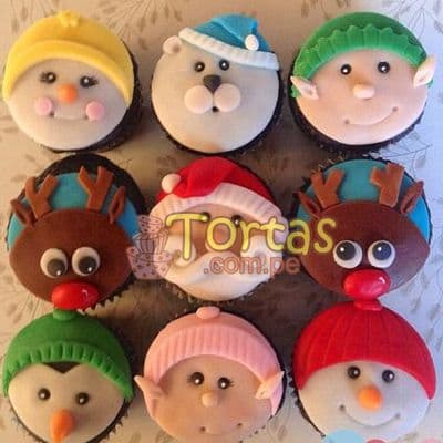 Deliregalos.com - Muffin Navide�os 04 - Codigo:NAC10 - Detalles: 9 muffins navide�os decorados con masa el�stica - - Para mayores informes llamenos al Telf: 225-5120 o 476-0753.