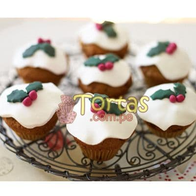 Muffin Navideños 06 - Codigo:NAC12 - Detalles: 7 muffins de vainilla decorados con masa elástica, presentación en caja de regalo - - Para mayores informes llamenos al Telf: 225-5120 o 4760-753.