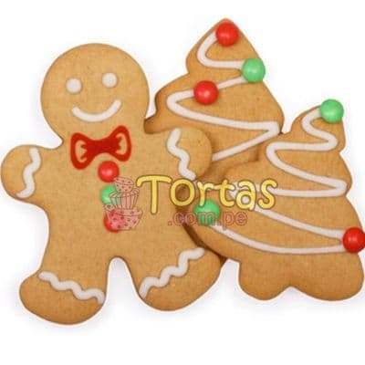 Deliregalos.com - Galletas Navidad 05 - Codigo:NAC14 - Detalles: 6 galletas; 2 hombres de jenjibre y 4 arbolitos, decoradas con masa el�stica - - Para mayores informes llamenos al Telf: 225-5120 o 476-0753.