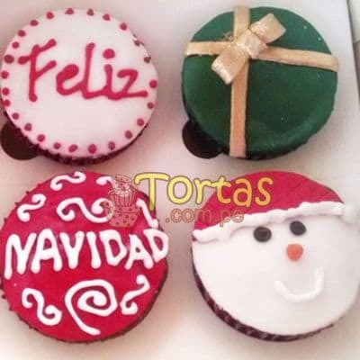 Deliregalos.com - Muffin Navide�os 07 - Codigo:NAC15 - Detalles: 4 muffins decorados con masa el�stica motivos navide�os - - Para mayores informes llamenos al Telf: 225-5120 o 476-0753.