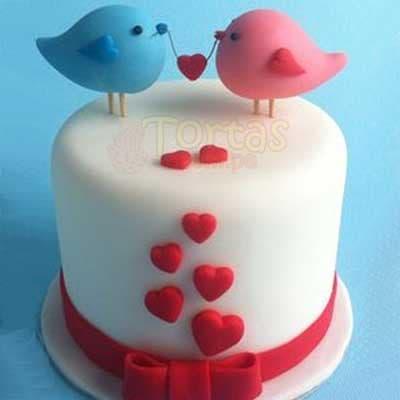 Enamorados 05 - Codigo:NMR05 - Detalles: Deliciosa torta de keke ingles bañada con manjar y forrada con masa elastica de Medida: de 20 cm diametro,decoracion según imagen, base forrado en papel de aluminio. - - Para mayores informes llamenos al Telf: 225-5120 o 4760-753.
