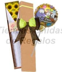 Deliregalos.com - Caja con 5 girasoles y Globo - Codigo:OFE13 - Detalles: Detalle compuesto por caja ecol�gica de 5 girasoles, globo met�lico Feliz d�a. - - Para mayores informes llamenos al Telf: 225-5120 o 476-0753.