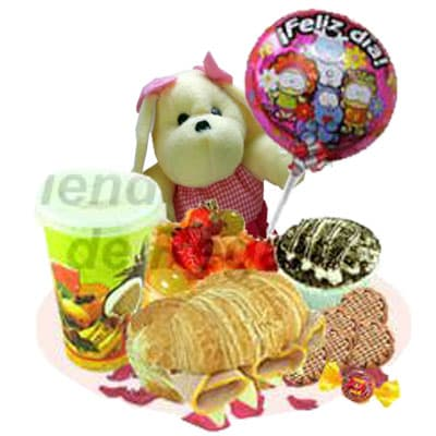 Deliregalos.com - Desayuno OFE15 y Globo - Codigo:OFE15 - Detalles: Bandeja de Cart�n ecol�gico conteniendo: Jugo de Naranja, s�ndwich mixto en pan Pan Bimbo Especial,, ensalada de frutas, postre 3 leches, 5 galletas choco chip, peluche perrito de 25cm, globo de feliz d�a, bomb�n de chocolate, juego de cubiertos y globo met�lico Feliz d�a.   - - Para mayores informes llamenos al Telf: 225-5120 o 476-0753.