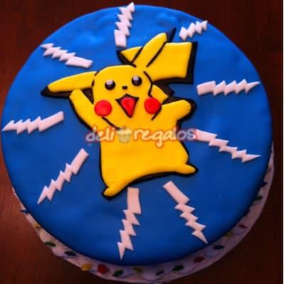 Torta Pikachu 1 - Codigo:PKG01 - Detalles: Deliciosa torta de keke ingles bañada con manjar blanco y decorada con masa elastica. Medidas 20cm de diametro. Presente incluye dedicatoria.  - - Para mayores informes llamenos al Telf: 225-5120 o 4760-753.