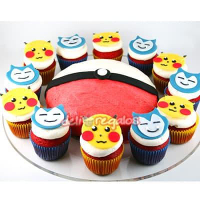 Torta y Cupcakes 04 - Codigo:PKG04 - Detalles: Deliciosa torta de keke ingles bañada con manjar blanco y decorada con masa elastica. Medidas 20cm de diametro. Incluye 12 cupcakes  Presente incluye dedicatoria.  - - Para mayores informes llamenos al Telf: 225-5120 o 4760-753.