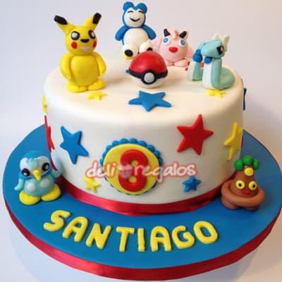 Torta Pokemon 06 - Codigo:PKG06 - Detalles: Deliciosa torta de keke ingles bañada con manjar blanco y decorada con masa elastica. Medidas 15cm de diametro. Presente incluye dedicatoria.  - - Para mayores informes llamenos al Telf: 225-5120 o 4760-753.