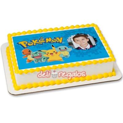 Foto Torta Pokemon - Codigo:PKG10 - Detalles: Deliciosa torta de keke ingles bañada con manjar blanco y decorada con masa elastica. Medidas 20cm x 30cm de diametro. Presente incluye dedicatoria.  - - Para mayores informes llamenos al Telf: 225-5120 o 4760-753.