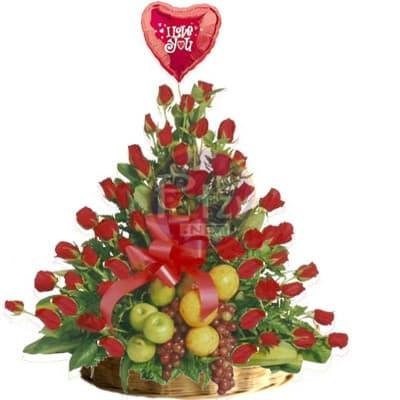 Arreglo de Rosas y Frutas Nro 6 - Codigo:QFA06 - Detalles: Espectacular arreglo Frutal a base de 60 girasoles importadas de tallo largo y follaje de estaci�n. Incluye frutas: 2 manzanas verdes, 2 peras, 2 manzanas rojas, 4 naranjas, 1 racimo de uvas, Globo Te amo de 20cm met�lico de cortes�a. Este producto debe solicitarse con 24 horas de anticipaci�n como m�nimo o consultar previamente con nuestro call center.  - - Para mayores informes llamenos al Telf: 225-5120 o 4760-753.