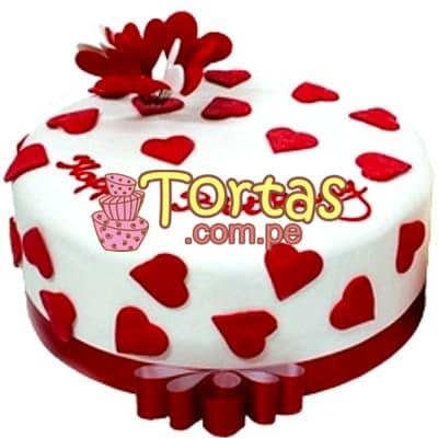 Diloconrosas.com - Torta Valentin 03 - Codigo:SDV03 - Detalles: Deliciosa torta de 10x10cm, keke De Vainilla ba�ado con manjar blanco y decorado totalmente con fina masa elastica segun imagen.    - - Para mayores informes llamenos al Telf: 225-5120 o 476-0753.