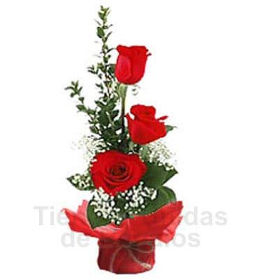 I-quiero.com - 3 Rosas  - Codigo:SEC07 - Detalles: envase de cer�mica conteniendo  Arreglo floral con rosas rojas x 3 unidades, el arreglo tiene una altura de 27cm. incluye flores de estacion.  - - Para mayores informes llamenos al Telf: 225-5120 o 476-0753.