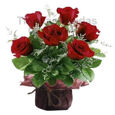 Lafrutita.com - Detalle de 6 Rosas - Codigo:SET10 - Detalles: Lindo detalle floral a base de 6 rosas importadas, flores y follaje de estaci�n. El presente viene en una base de cer�mica. Incluye tarjeta de dedicatoria.  - - Para mayores informes llamenos al Telf: 225-5120 o 476-0753.