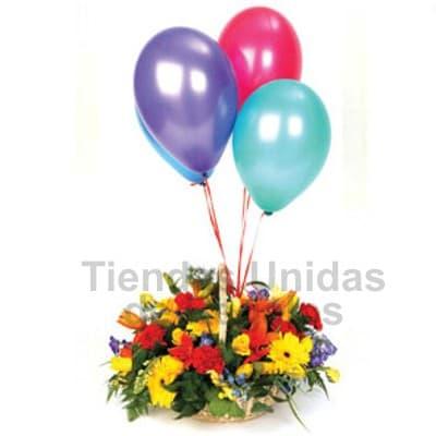 Lafrutita.com - Arreglo de Flores con Globos de Helio - Codigo:SET12 - Detalles: Original detalle floral a base de flores de estaci�n con flores de colores referenciales en una base de mimbre. El presente incluye 3 globos con helio como parte del arreglo floral. Incluye tarjeta de dedicatoria.  - - Para mayores informes llamenos al Telf: 225-5120 o 476-0753.