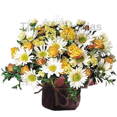 Arreglo floral en base ceramica 13