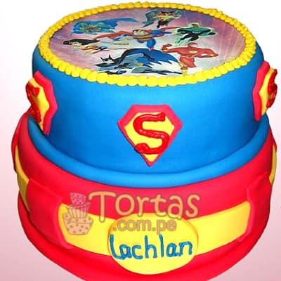 I-quiero.com - Torta SuperMan 02 - Codigo:SPN02 - Detalles: Delicioso keke De Vainilla ba�ado con manjar blanco y forrado con masa elastica. Tama�o: 25cm de diametro primer piso, 20cm de diametro segundo piso,incluye fotoimpresion comestible en la parte superior - - Para mayores informes llamenos al Telf: 225-5120 o 476-0753.