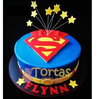 I-quiero.com - Torta SuperMan 08 - Codigo:SPN8 - Detalles: Delicioso keke De Vainilla ba�ado con manjar blanco y forrado con masa elastica. Tama�o: 20cm de diametro primer piso Incluye Estrellas de azucar - - Para mayores informes llamenos al Telf: 225-5120 o 476-0753.