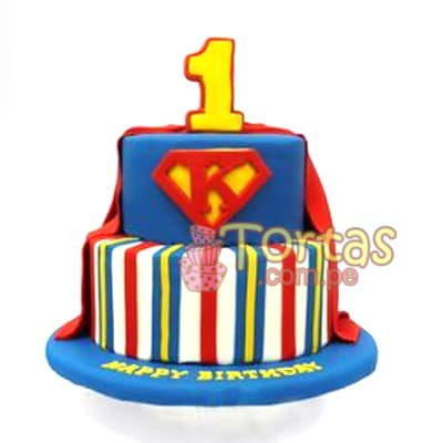 Tortas.com.pe - Torta Superman 10 - Codigo:SPN10 - Detalles: Delicioso keke De Vainilla ba�ado con manjar blanco y forrado con masa elastica. Tama�o: 20cm de diametro primer piso, 15cm de diametro segundo piso. incluye numero de azucar - - Para mayores informes llamenos al Telf: 225-5120 o 476-0753.