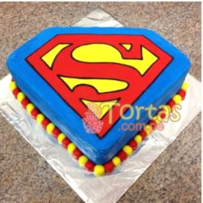 Tortas.com.pe - Torta Superman 12 - Codigo:SPN12 - Detalles: Delicioso keke De Vainilla ba�ado con manjar blanco y forrado con masa elastica. Tama�o: 10cm x 10cm  - - Para mayores informes llamenos al Telf: 225-5120 o 476-0753.