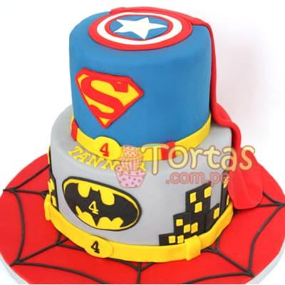 I-quiero.com - Torta Superman 13 - Codigo:SPN13 - Detalles: Delicioso keke De Vainilla ba�ado con manjar blanco y forrado con masa elastica. Tama�o: 20cm de diametro primer piso, 15cm de diametro - - Para mayores informes llamenos al Telf: 225-5120 o 476-0753.