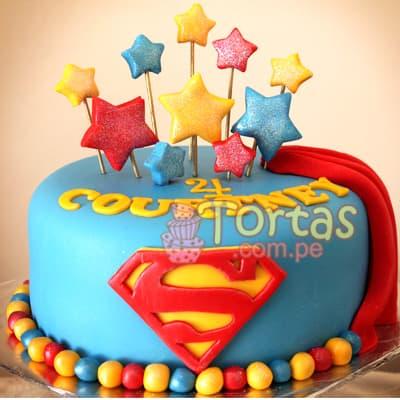 I-quiero.com - Torta Superman 15 - Codigo:SPN15 - Detalles: Delicioso keke De Vainilla ba�ado con manjar blanco y forrado con masa elastica. Tama�o: 20cm de diametro primer piso,  - - Para mayores informes llamenos al Telf: 225-5120 o 476-0753.