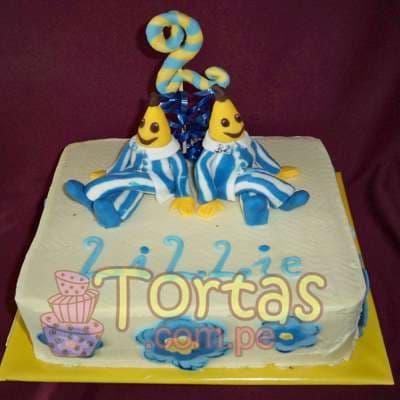 I-quiero.com - Torta Bananas 03 - Codigo:TBP03 - Detalles: Torta de queque De Vainilla   ba�ado en manjar blanco y forrado y decorado en masa elastica. Las medidas primer piso 20x20. Incluye bananas en masa elastica. - - Para mayores informes llamenos al Telf: 225-5120 o 476-0753.