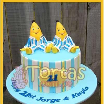 I-quiero.com - Torta Bananas 04 - Codigo:TBP04 - Detalles: Torta de queque De Vainilla   ba�ado en manjar blanco y forrado y decorado en masa elastica. Las medidas 15cm de diametro.incluye bananas en masa elastica. - - Para mayores informes llamenos al Telf: 225-5120 o 476-0753.