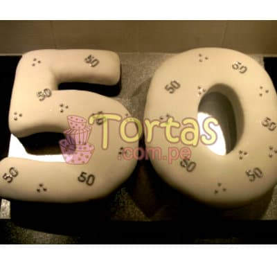 Lafrutita.com - Torta 50 a�os 03 - Codigo:TCS03 - Detalles: Delicioso queque De Vainilla   forrada en masa el�stica. Medidas: 20x30cm dando forma a ambos n�meros - - Para mayores informes llamenos al Telf: 225-5120 o 476-0753.
