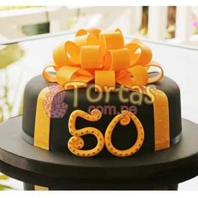 Lafrutita.com - Torta 50 a�os 04 - Codigo:TCS04 - Detalles: Delicioso queque De Vainilla   forrada en masa el�stica. Medidas: 20cm de di�metro, mo�o modelado, incluye n�mero - - Para mayores informes llamenos al Telf: 225-5120 o 476-0753.