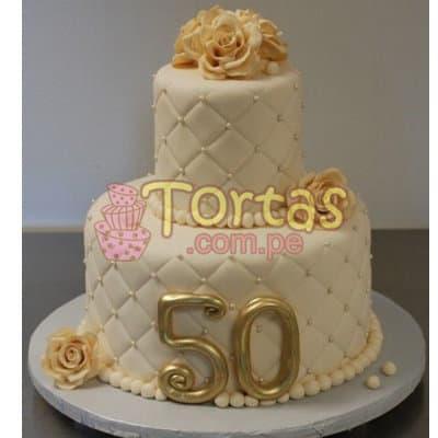 Diloconrosas.com - Torta 50 a�os 16 - Codigo:TCS16 - Detalles: Delicioso queque De Vainilla   forrada en masa el�stica. Medidas: 1er piso de 20cm de di�metro, 2do piso de 10cm de di�metro, flores modeladas - - Para mayores informes llamenos al Telf: 225-5120 o 476-0753.