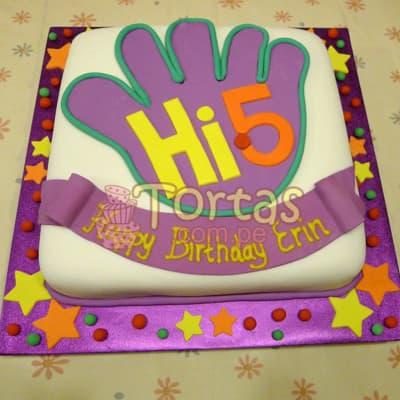 Tortas.com.pe - Torta Hi5 - 02 - Codigo:THI02 - Detalles: Deliciosa torta a base de keke De Vainilla ba�ado con manjar blanco y forrado con masa elastica. La torta tiene medidas de: 25x25cm Incluye decoracion haciendo referencia a la imagen. Incluye base forrada y estrellas  - - Para mayores informes llamenos al Telf: 225-5120 o 476-0753.