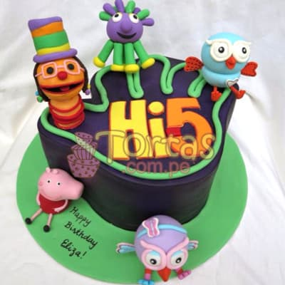 Lafrutita.com - Torta Hi5 - 03 - Codigo:THI03 - Detalles: Deliciosa torta a base de keke De Vainilla ba�ado con manjar blanco y forrado con masa elastica. La torta tiene medidas de: 15x15cm Incluye decoracion haciendo referencia a la imagen. Incluye 5 personajes en azucar  - - Para mayores informes llamenos al Telf: 225-5120 o 476-0753.