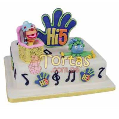 Tortas.com.pe - Torta Hi5 - 05 - Codigo:THI05 - Detalles: Deliciosa torta a base de keke De Vainilla ba�ado con manjar blanco y forrado con masa elastica. La torta tiene medidas de: 20x30cm Incluye decoracion haciendo referencia a la imagen. Incluye dos personajes y mano en azucar  - - Para mayores informes llamenos al Telf: 225-5120 o 476-0753.