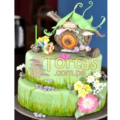 Torta Tinkerbell 02 - Codigo:TKB02 - Detalles: Deliciosa torta a base de keke ingles , bañado con manjar blanco y forrado en su totalidad con masa elástica, la torta es de medidas:  Primer piso de 25cm de diámetro y segundo piso de 20cm de diámetro. incluye casa de tinkerbell según imagen y flores, incluye también una foto-impresión de tinkerbell según imagen.  - - Para mayores informes llamenos al Telf: 225-5120 o 4760-753.