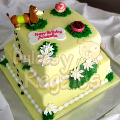 Lafrutita.com - Torta de 2 pisos - Codigo:TMC01 - Detalles: Deliciosa torta hecha de mezcla especial para tu mascota canina a base de carne, manteca vegetal, huevo y especias. Medidas: Primer piso de 25cm x 25cm y segundo piso de 15cm x 15cm  Rinde aproximadamente para 35 invitados. Es importante indicar que la cobertura de la torta es a base de masa elastica, la cual  esta hecha de azucar y recomendamos sacar antes de servir a tu mascota ya que algunas razas podrian causar moderada indigestion si se come en grandes cantidades. Este pedido se deber� realizar m�nimo con 2 dias de anticipaci�n. - - Para mayores informes llamenos al Telf: 225-5120 o 476-0753.